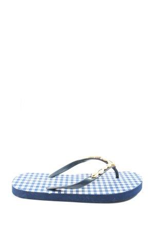 Hunkemöller Flip-Flop Sandals blue-white check pattern casual look