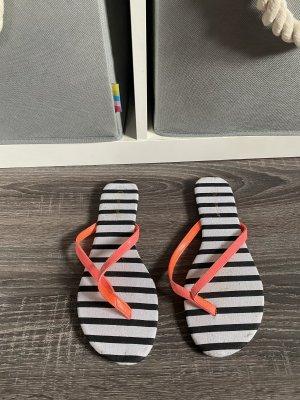 Hunkemöller flip Flops streifen neon Schlappen orange Pink