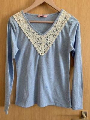Hunkemöller langarmshirt mit spitze hellblau/weiß
