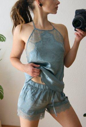 Hunkemöller Pyjama sage green-light blue silk