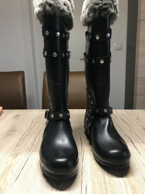 Hunter Wellies black-silver-colored