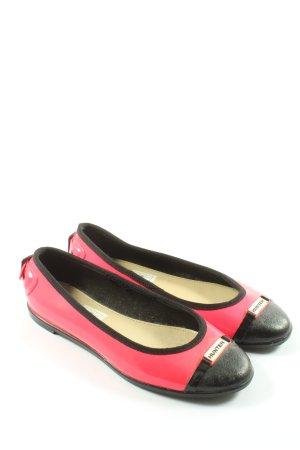 Hunter Klassische Ballerinas pink-schwarz Casual-Look