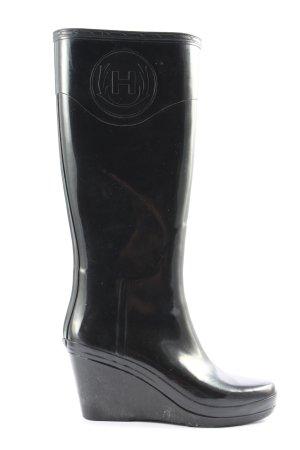 Hunter Platform Boots black casual look