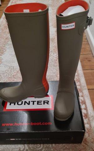 Hunter Wellington laarzen groen-grijs-oranje