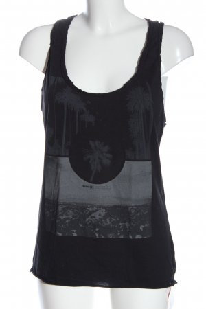 Hurley Top basic nero Stampa a tema stile casual