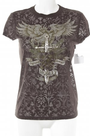 Hurley T-Shirt dunkelbraun-hellbraun Motivdruck