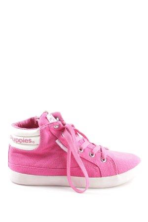 Hush Puppies High Top Sneaker pink-weiß Schriftzug gedruckt Casual-Look