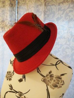 Wollen hoed rood