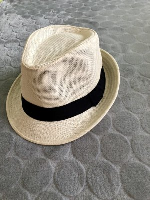 Sombrero de ala ancha negro-crema