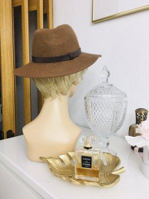 Sombrero de lana marrón-marrón claro