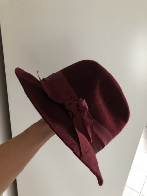 Patrizia Fabri Wełniany kapelusz bordo