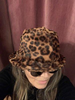 Miękki kapelusz z szerokim opuszczonym rondem czarny-ciemnobrązowy