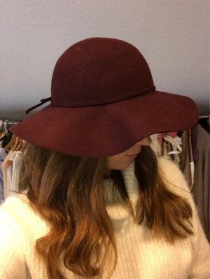 H&M Sombrero de fieltro rojo frambuesa