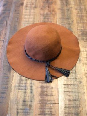Vero Moda Cappello a falde larghe arancione scuro-marrone scuro