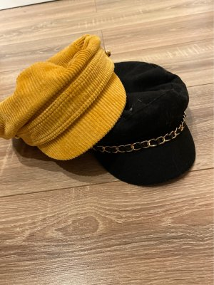 H&M Flat Cap gold orange-black