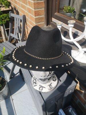 L'Atelier du Sac Chapeau en laine noir-doré laine