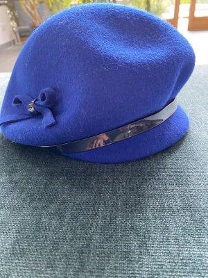 Wollen hoed blauw