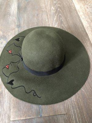 Miękki kapelusz z szerokim opuszczonym rondem leśna zieleń