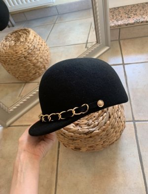 Vintage Vilten hoed zwart-goud