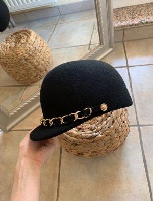 Hut Mütze Kappe Reiterstyle schwarz gold