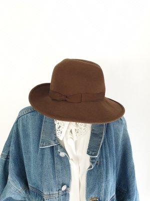 Vintage Folkloristische hoed lichtbruin-bruin