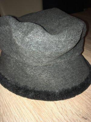 Sombrero de piel gris oscuro-gris antracita