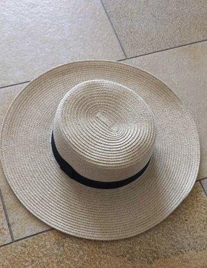 H&M Sombrero de ala ancha negro-beige claro