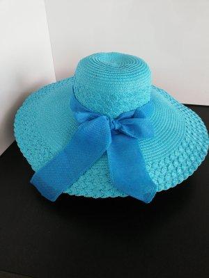 Sombrero de ala ancha turquesa