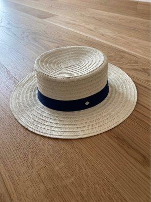 Gant Chapeau de soleil beige clair-bleu foncé