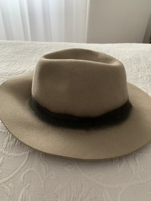 Zara Felt Hat beige-black wool