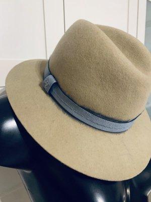 Zadig & Voltaire Wełniany kapelusz beżowy-szary Wełna