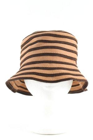 Hutparadies Wełniany kapelusz kremowy-brązowy Wzór w paski W stylu casual