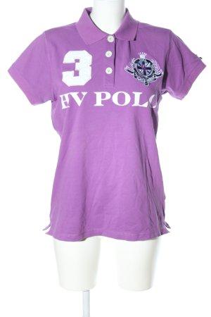 HV Polo Camiseta tipo polo lila letras impresas look casual