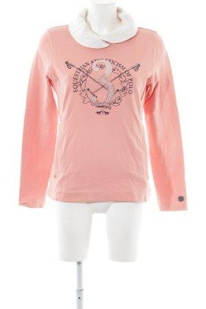 HV Polo Rollkragenpullover pink-weiß Motivdruck Casual-Look