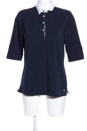hv society Polo shirt blauw gedrukte letters casual uitstraling