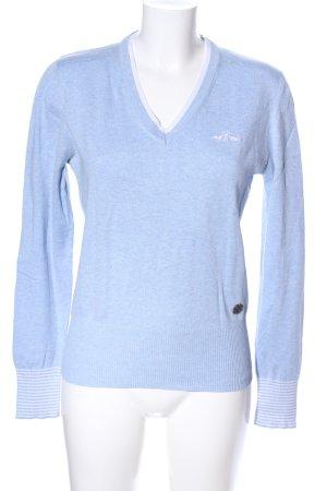 hv society Maglione con scollo a V blu puntinato stile casual