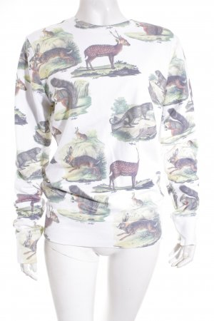Hype Sweatshirt weiß-grasgrün Animalmuster sportlicher Stil