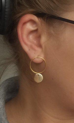 Hypoallergene Ohrringe mit Kreis-Ohrstecker und Plättchen (Goldfarben)