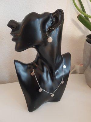 Hypoallergene Ohrringe mit Kreis-Ohrstecker und Plättchen (Silberfarben)