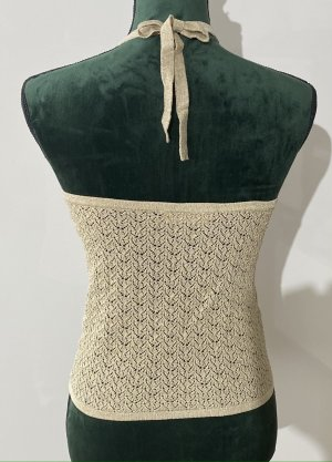 ICONA by KAOS Top de ganchillo color oro tejido mezclado