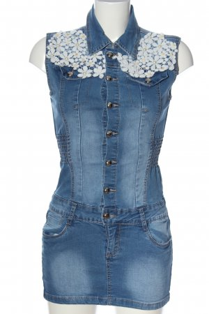 i dodo Denim Dress blue-white flower pattern casual look