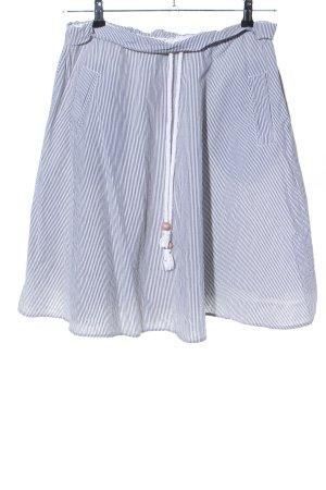 Jupe taille haute bleu-blanc motif rayé style décontracté