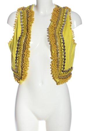 ibBan Veste à franges jaune primevère style décontracté