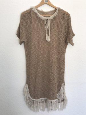 Sukienka z frędzlami jasnobrązowy