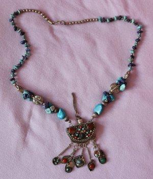 Ibiza Hippie Collier Halskette Kette mit Flakon Metall Natur Türkis Lapizlazuli Steine Boho Tibet Handmade Statement Riechfläschchen