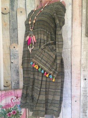 Made in Italy Vestido Hippie caqui-gris pizarra Algodón