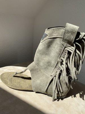 Sandalo infradito con tacco alto grigio-verde