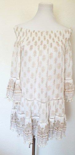 Ibiza Kleid weiss gold mit Paisley Print Standkleid Sommerkleid Gr 38 40 42