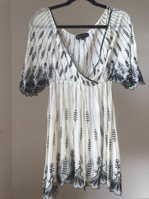 Ibiza Mykonos Kleid in Beige mit schwarz und 100% Seide