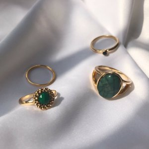 Statement Ring gold-colored-forest green metal